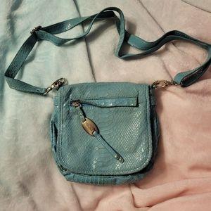 Perlina 100% genuine leather aqua color purse/bag